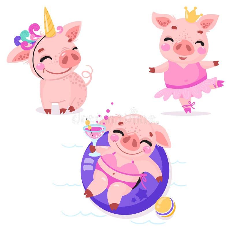 Uppsättning av gulliga tecknad filmsvin Svin i en enhörningdräkt, piggy prinsessa med en krona som är piggy på stranden med en co stock illustrationer