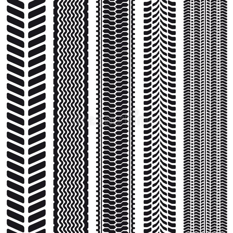 Uppsättning av 5 gummihjuldäckmönster. Sömlös textur. vektor illustrationer