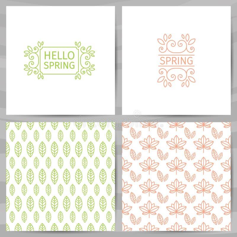Uppsättning av hälsningkort, inbjudningar, malldesign Hello fjädrar logo med virvel, blommar, planterar Den enkla modellen av stock illustrationer