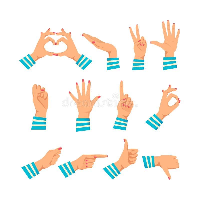 Uppsättning av händer för kvinna` s i olika gester Signalerar kvinna` s vektor illustrationer