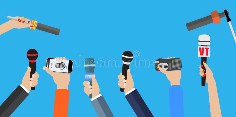Uppsättning av händer som rymmer mikrofoner royaltyfri illustrationer