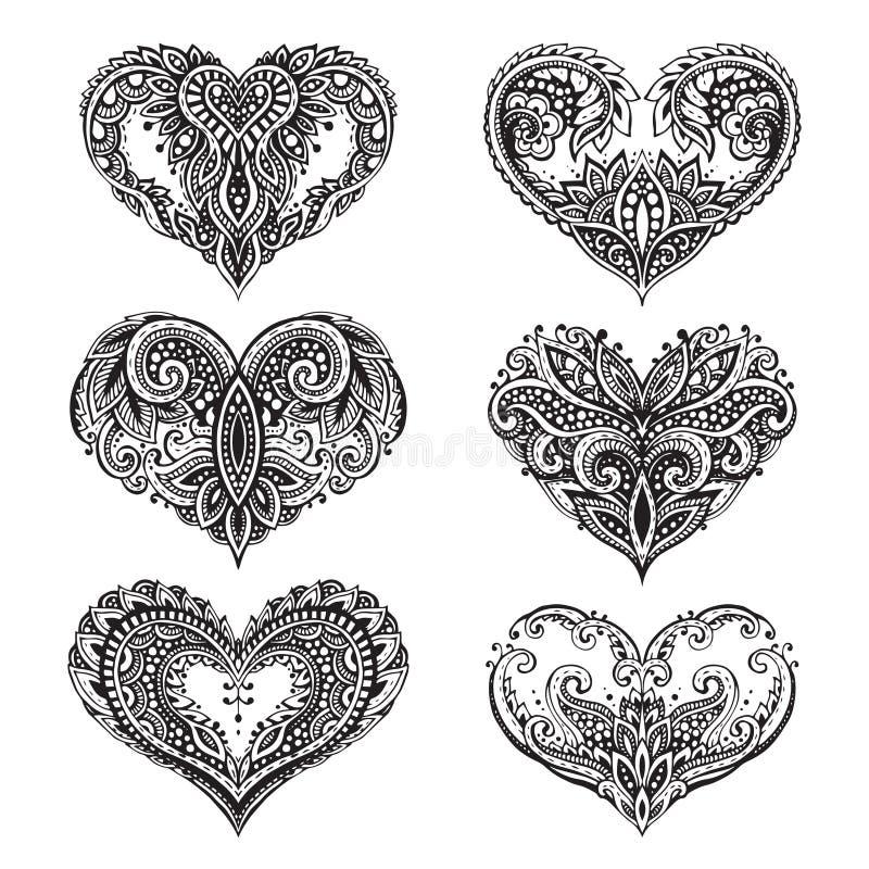 Uppsättning av härlig hand drog hjärtor i zentanglestil vektor illustrationer