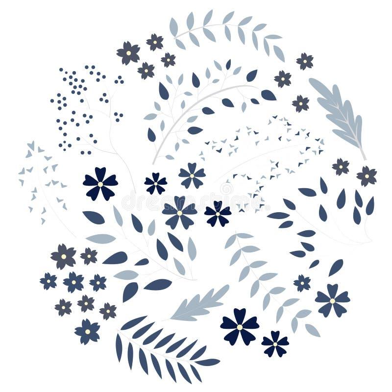 Uppsättning av härliga blåa blommor royaltyfria foton