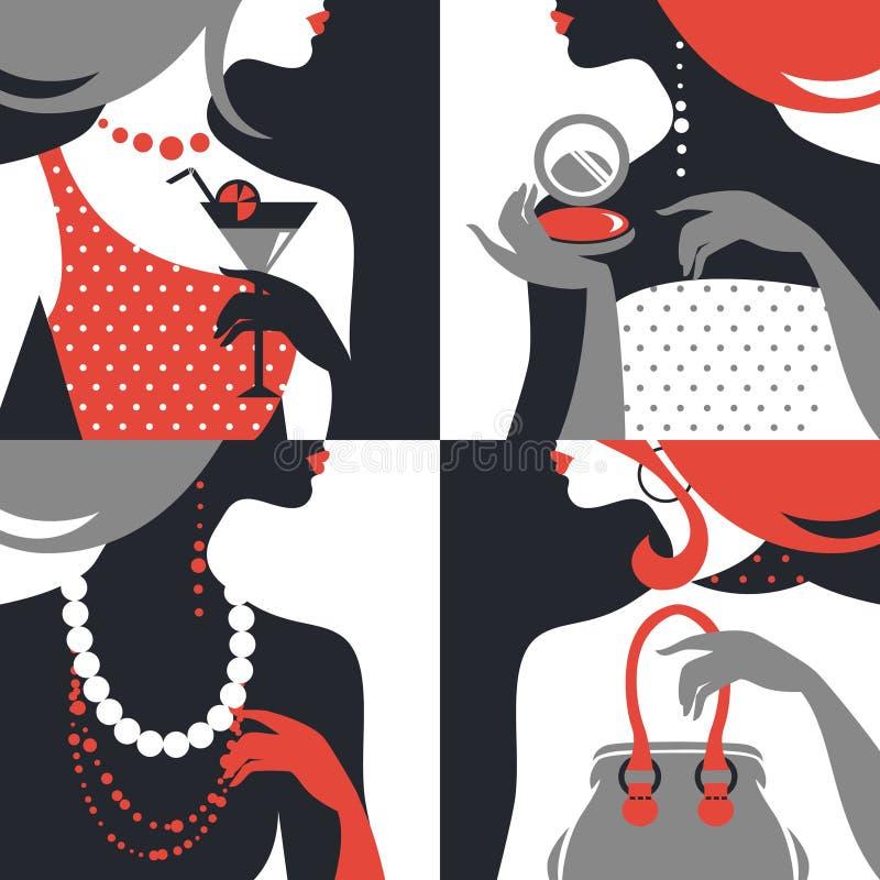 Uppsättning av härliga modekvinnakonturer vektor illustrationer