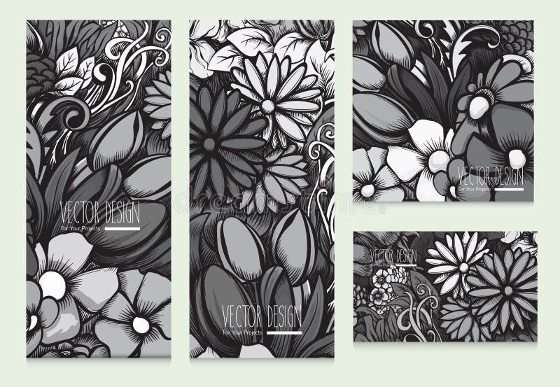Uppsättning av härliga vektorkort med monokromt ljus - grå blom- bakgrund royaltyfri illustrationer