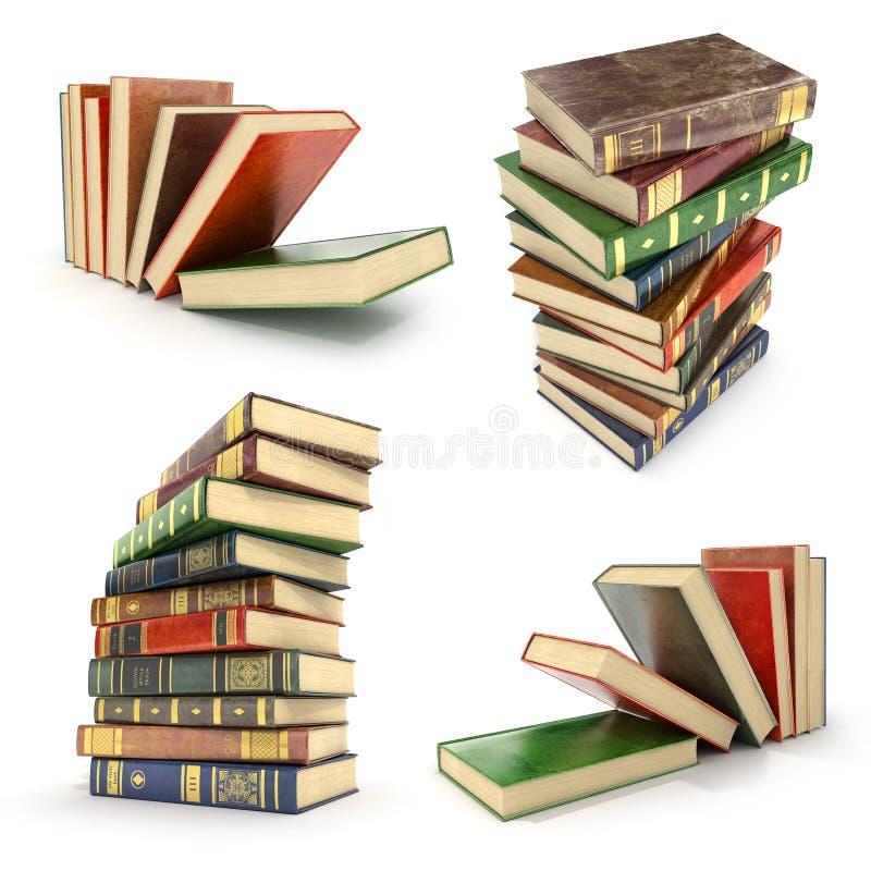 Uppsättning av högen av färgrika böcker stock illustrationer