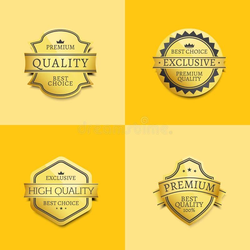 Uppsättning av högvärdig kvalitets- bästa guldetikettgaranti stock illustrationer