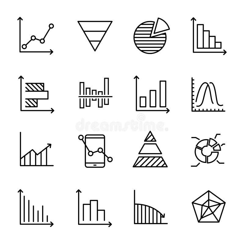 Uppsättning av högvärdiga diagramsymboler i linjen stil stock illustrationer