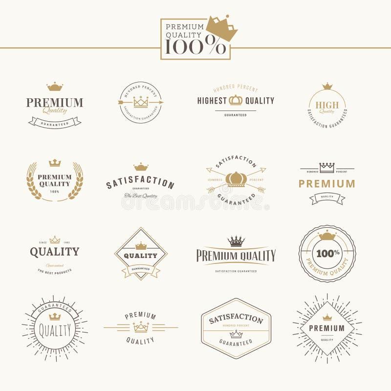 Uppsättning av högvärdiga kvalitetsetiketter och emblem stock illustrationer