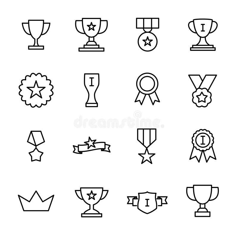 Uppsättning av högvärdiga utmärkelsesymboler i linjen stil stock illustrationer