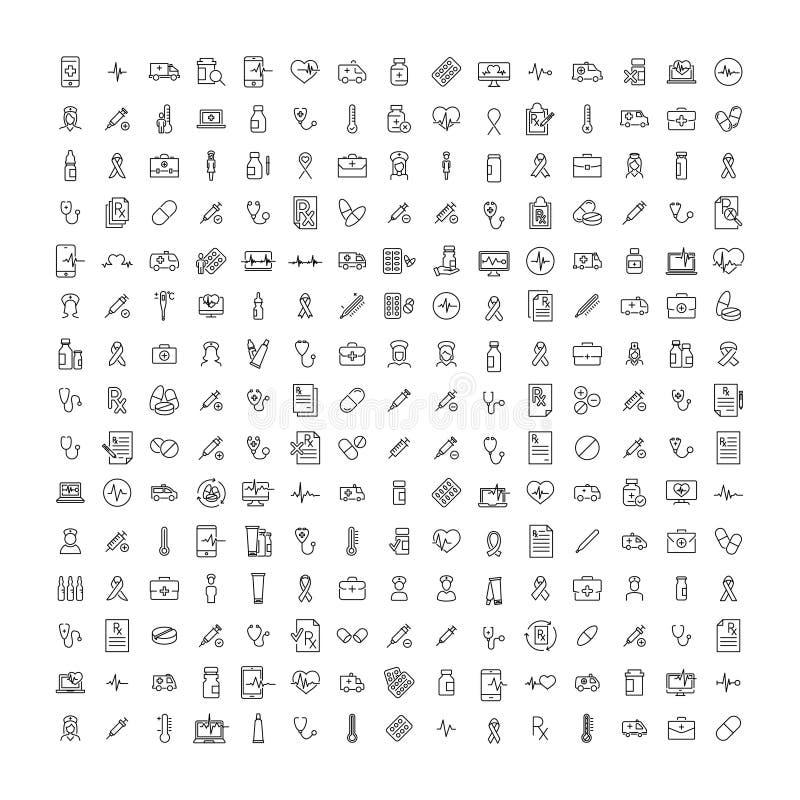 Uppsättning av högvärdiga vård- symboler i linjen stil stock illustrationer