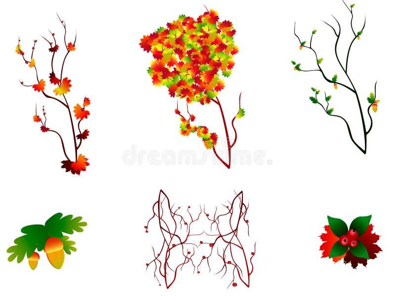 Uppsättning av hösten stock illustrationer