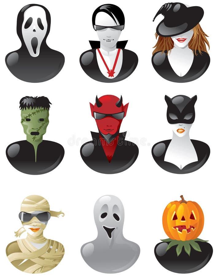 Uppsättning av halloween avatars vektor illustrationer
