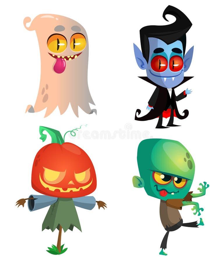 Uppsättning av halloween tecken Vektortecknad filmspöke, vampyr, lykta för pumpastålarnolla, levande död royaltyfri illustrationer