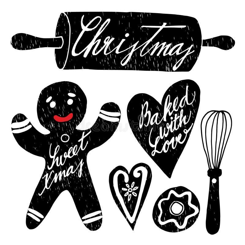 Uppsättning av hand dragen jul som bakar beståndsdelar med pepparkakan, vektor illustrationer