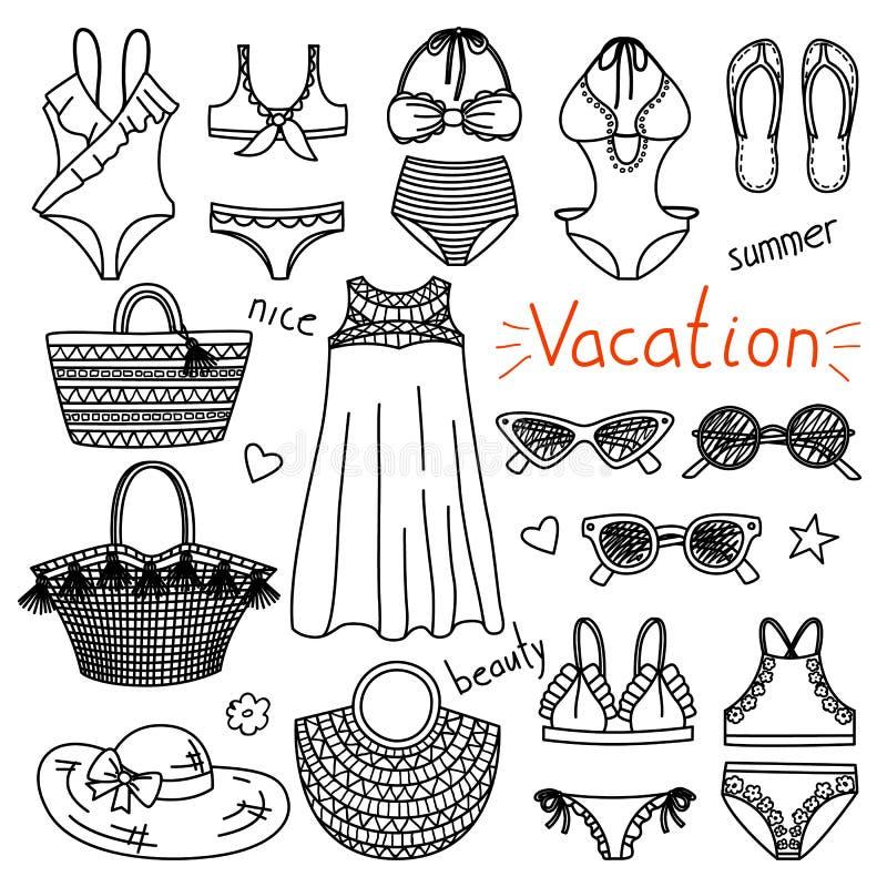 Uppsättning av hand dragen kvinnakläder och tillbehör semester royaltyfri illustrationer