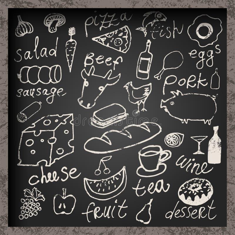 Uppsättning av hand-dragen mat på den svart tavlan Design för restaurangmatmeny också vektor för coreldrawillustration vektor illustrationer