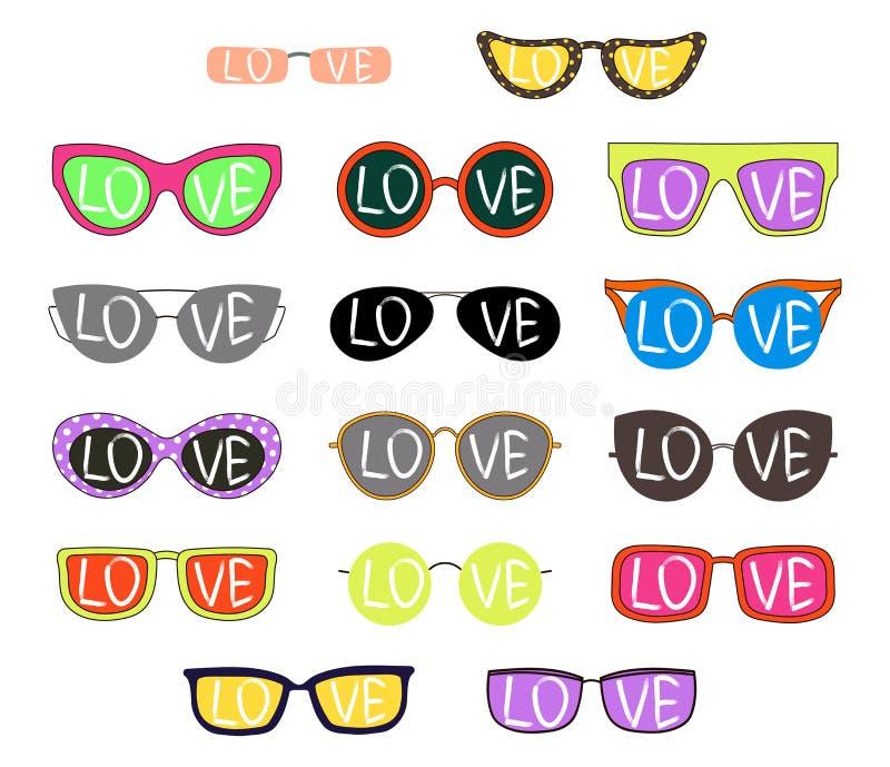 Uppsättning av hand dragen solglasögon med ord stock illustrationer