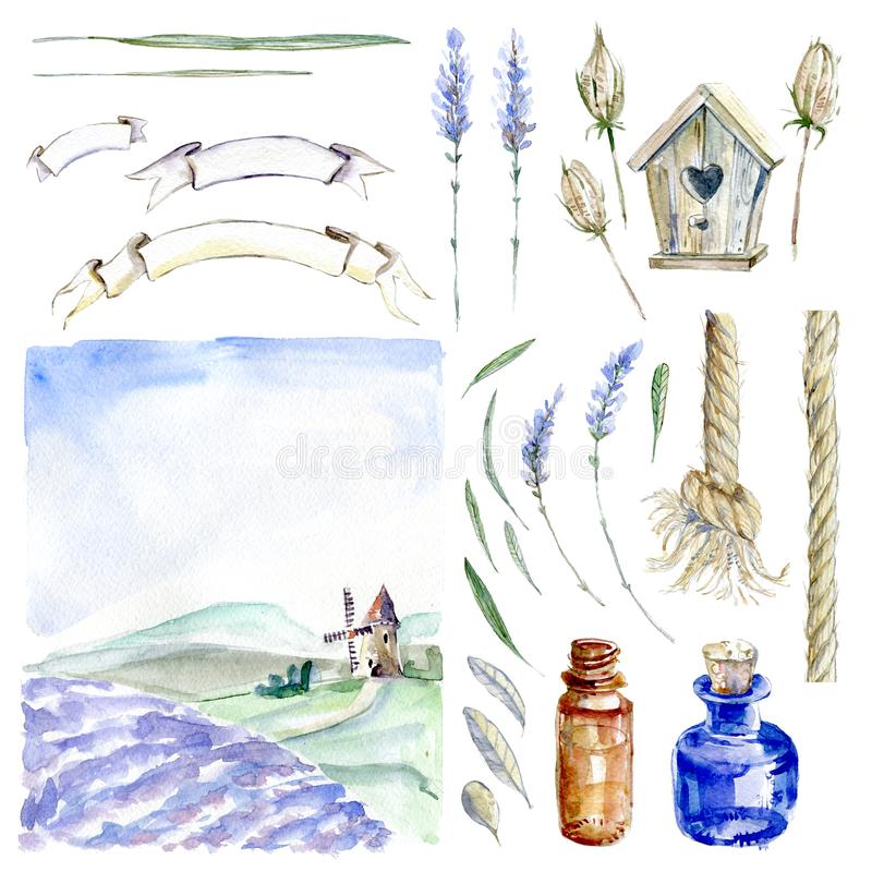 Uppsättning av hand dragen vattenfärgclipart Provence atmosfär, laven stock illustrationer
