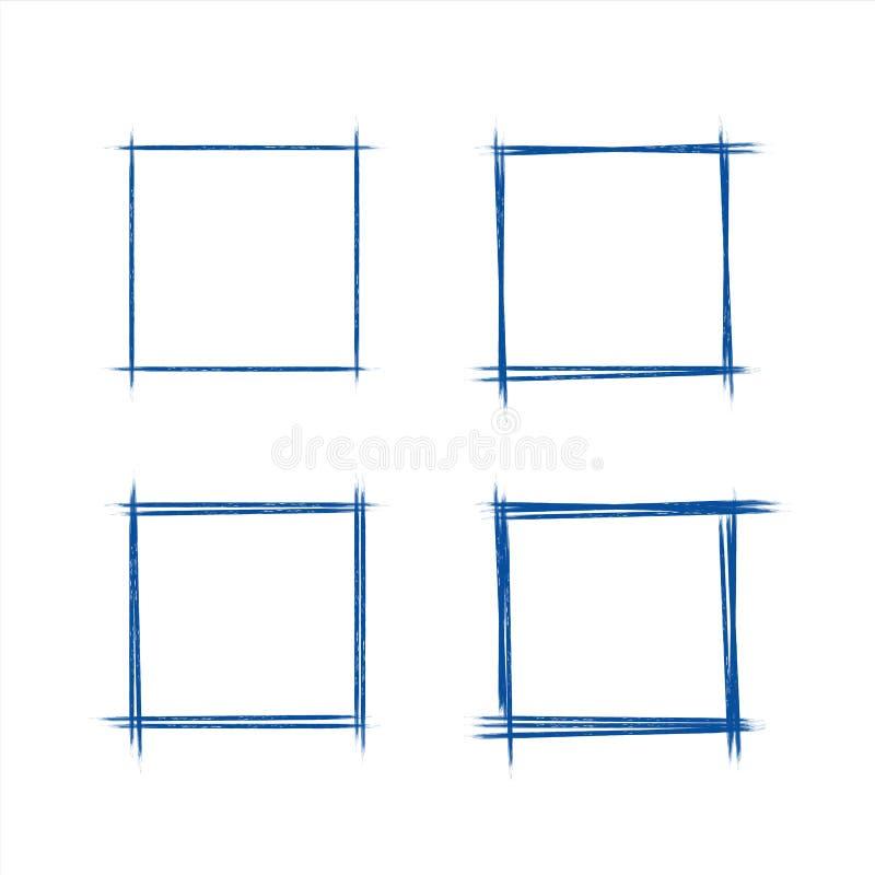 Uppsättning av hand dragit grungestilmörker - det blåa klottret för fyrkanten för rektangeln för tappningbollpennan klottrar på v stock illustrationer