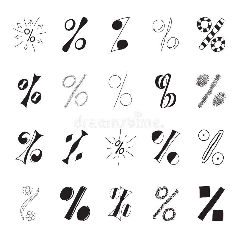 Uppsättning av hand dragit procenttecken royaltyfri illustrationer