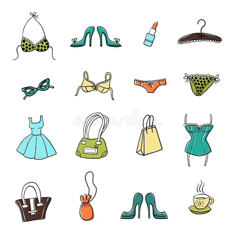 Uppsättning av hand-drog beståndsdelar av accessoiries för kvinna` s vektor illustrationer