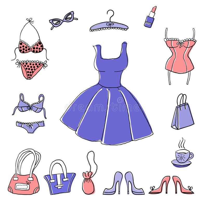 Uppsättning av hand-drog beståndsdelar av accessoiries för kvinna` s stock illustrationer