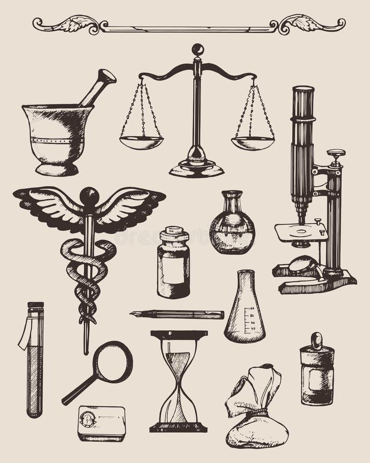 Uppsättning av hand-drog beståndsdelar av apotek eller kemi stock illustrationer