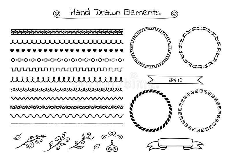Uppsättning av hand drog borstar, ramar, bandbaner och sidor royaltyfri illustrationer