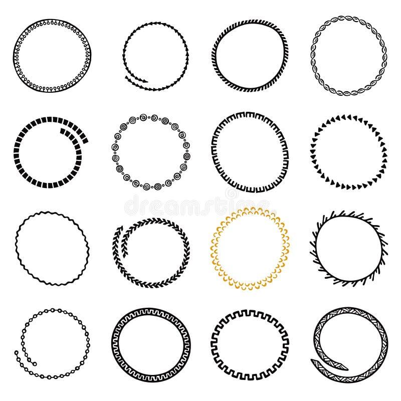 Uppsättning av hand drog cirkelramar i etnisk stil royaltyfri illustrationer