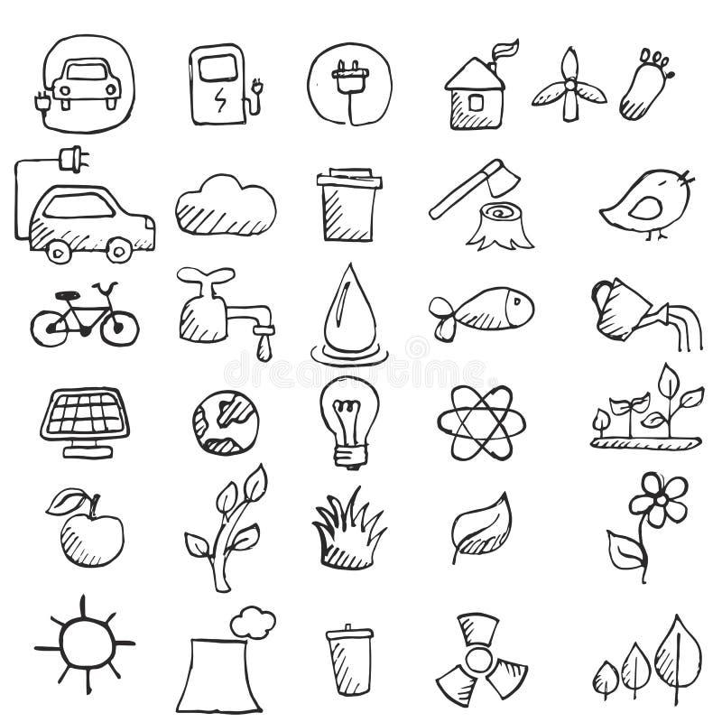 Uppsättning av hand drog ecosymboler royaltyfri illustrationer