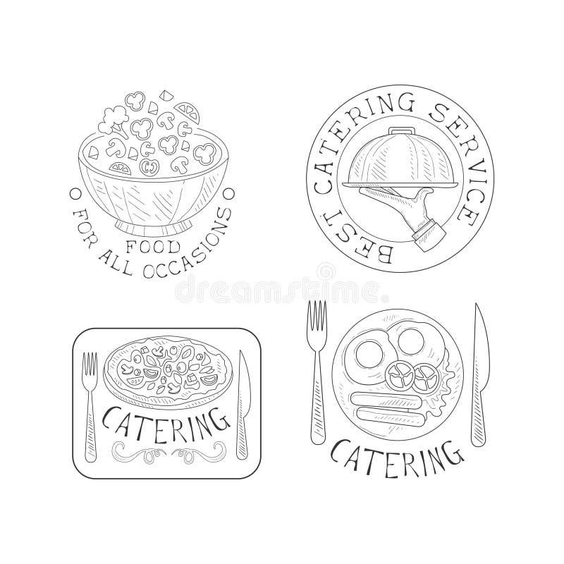 Uppsättning av 4 hand drog emblem för att sköta om service Monokromma vektorlogoer med salladbunken, hand med magasinet, pizza oc vektor illustrationer