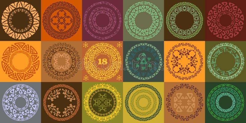 Uppsättning av hand drog etniska cirkelramar Rundaetiketter med dekorativa gränser vektor illustrationer