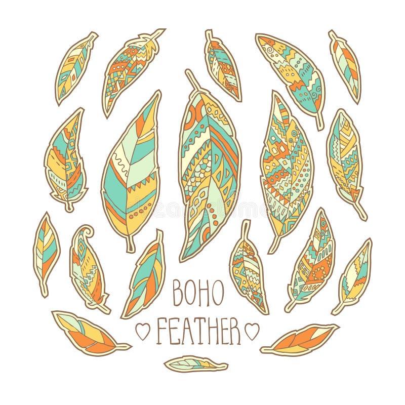 Uppsättning av hand drog färgrika fjädrar på vit bakgrund royaltyfri illustrationer