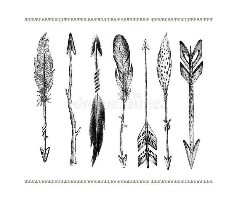 Uppsättning av hand drog fågelfjädrar som isoleras på vit bakgrund Bo stock illustrationer