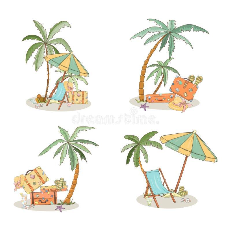 Uppsättning av hand drog ferieloppbeståndsdelar royaltyfri illustrationer