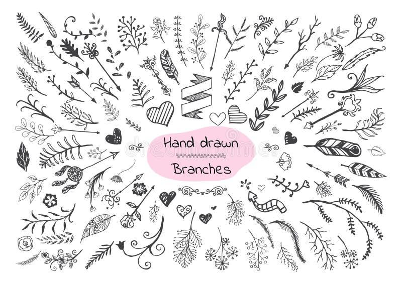 Uppsättning av hand drog filialer, hjärtor och pilar vektor illustrationer