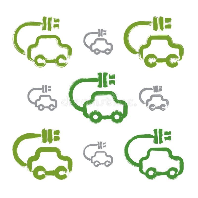 Uppsättning av hand-drog gröna ecobilsymboler, samling stock illustrationer