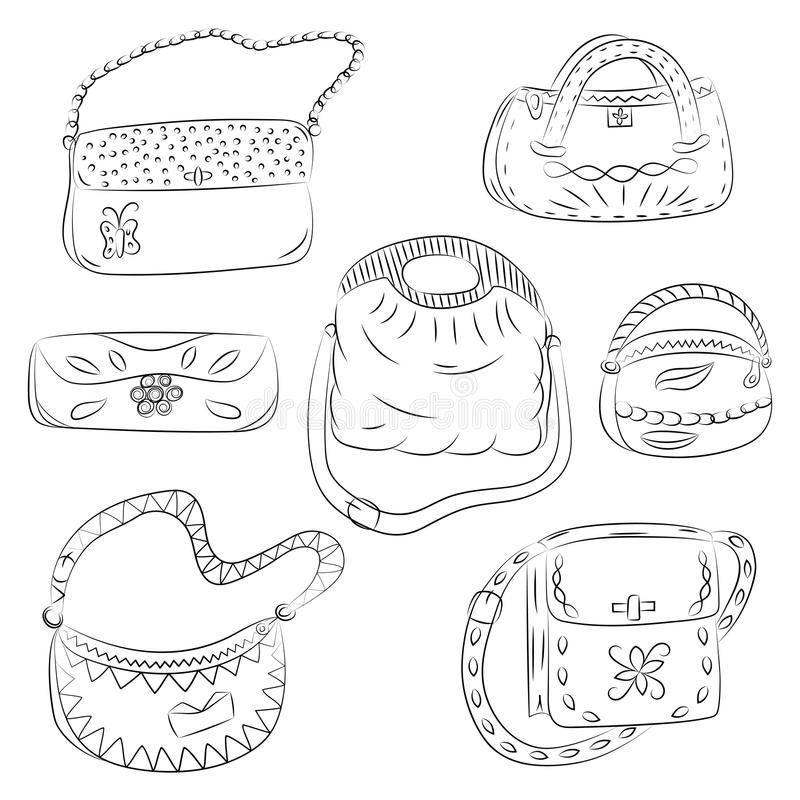 Uppsättning av hand drog handväskor Svarta modepåsekonturer exponeringsbärbar datorlampa skissar stil vektor illustrationer