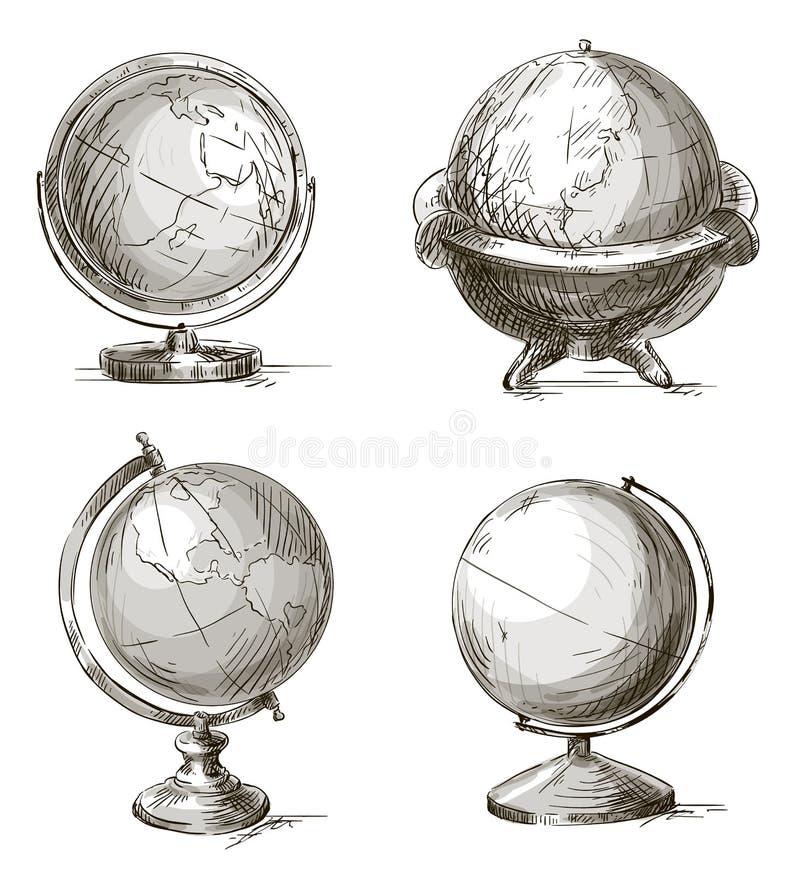 Uppsättning av hand drog jordklot också vektor för coreldrawillustration stock illustrationer