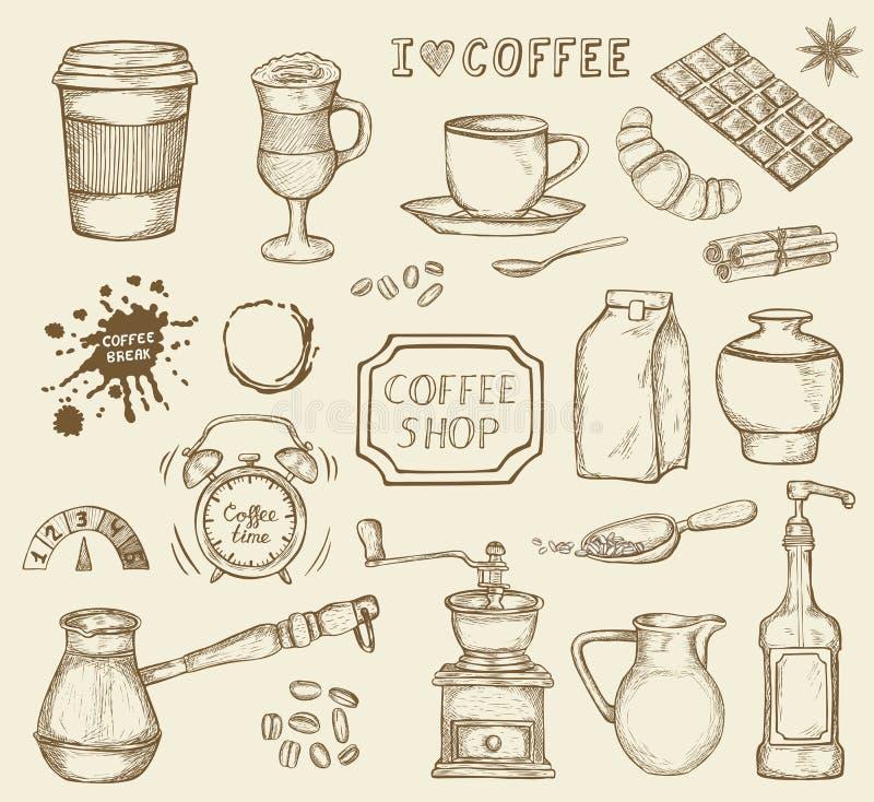 Uppsättning av hand drog kaffesymboler vektor illustrationer