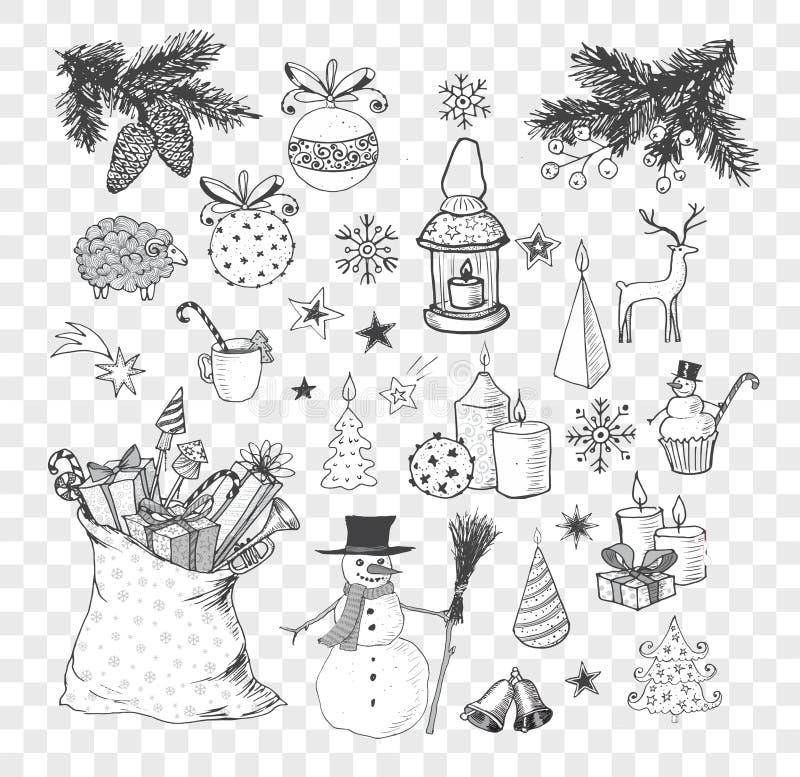 Uppsättning av hand-drog knapphändiga julbeståndsdelar Klottret skissar vektorillustrationen Stearinljus gåvaaskar snögubbear pom vektor illustrationer