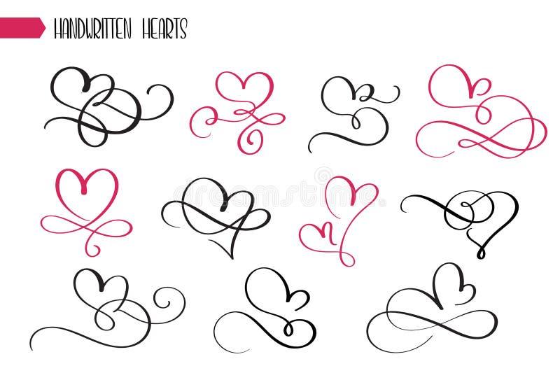 Uppsättning av hand drog knapphändiga kalligrafihjärtor Samling för krusidull för vektorgrungestil Illustration av den drog hande stock illustrationer