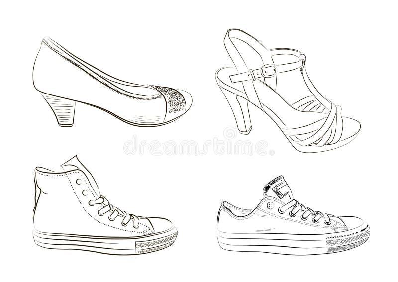 Uppsättning av hand drog män och kvinnaskor Vektor mig stock illustrationer