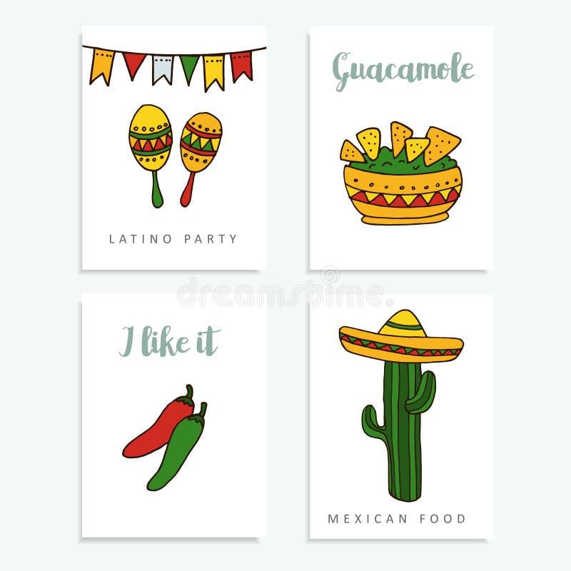 Uppsättning av hand drog mexikanska kort för inbjudningar eller restaurangmenyn, klotterillustratios vektor illustrationer