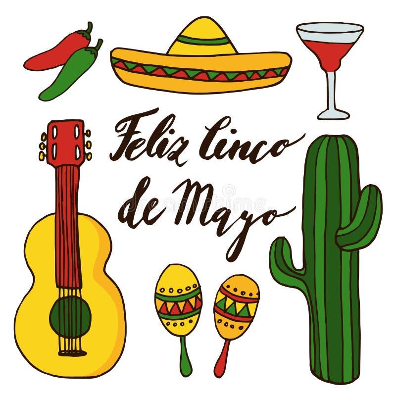 Uppsättning av hand drog mexikanska symboler för ferie för cincode mayo, isolerade klotterillustrationer stock illustrationer