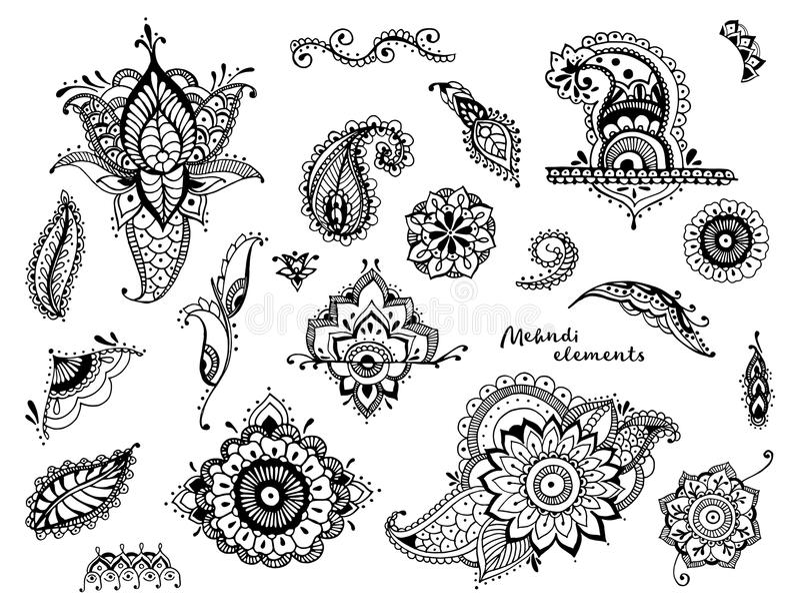 Uppsättning av hand drog olika mehndibeståndsdelar Stiliserade blommor, sidor, indierpaisley samling Svartvit person som tillhör  vektor illustrationer