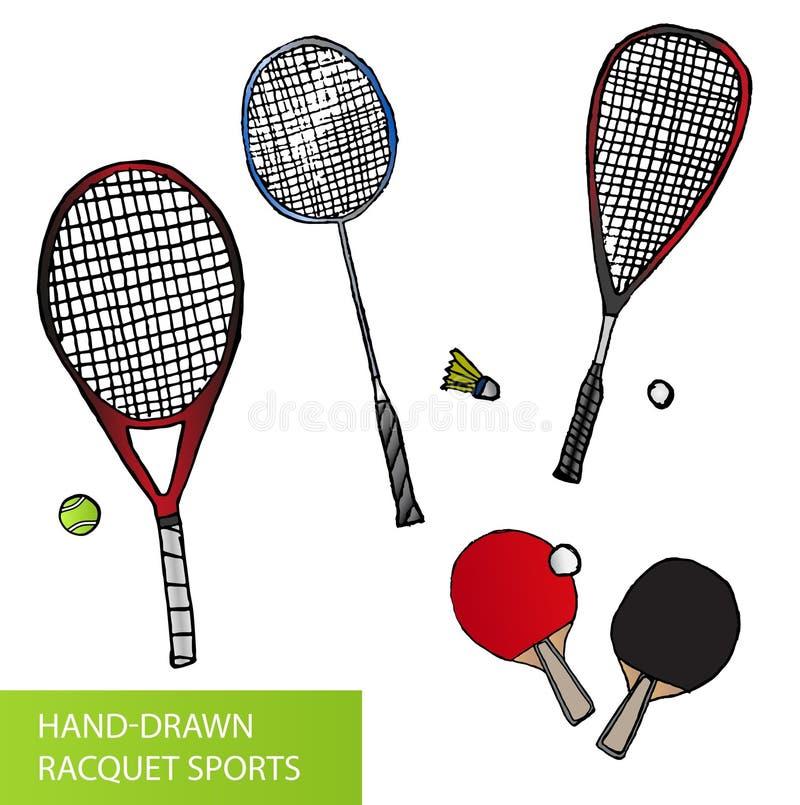 Uppsättning av hand-drog racketsportar - utrustning för tennis, bordtennis, badminton och squash - racket och bollar royaltyfri illustrationer