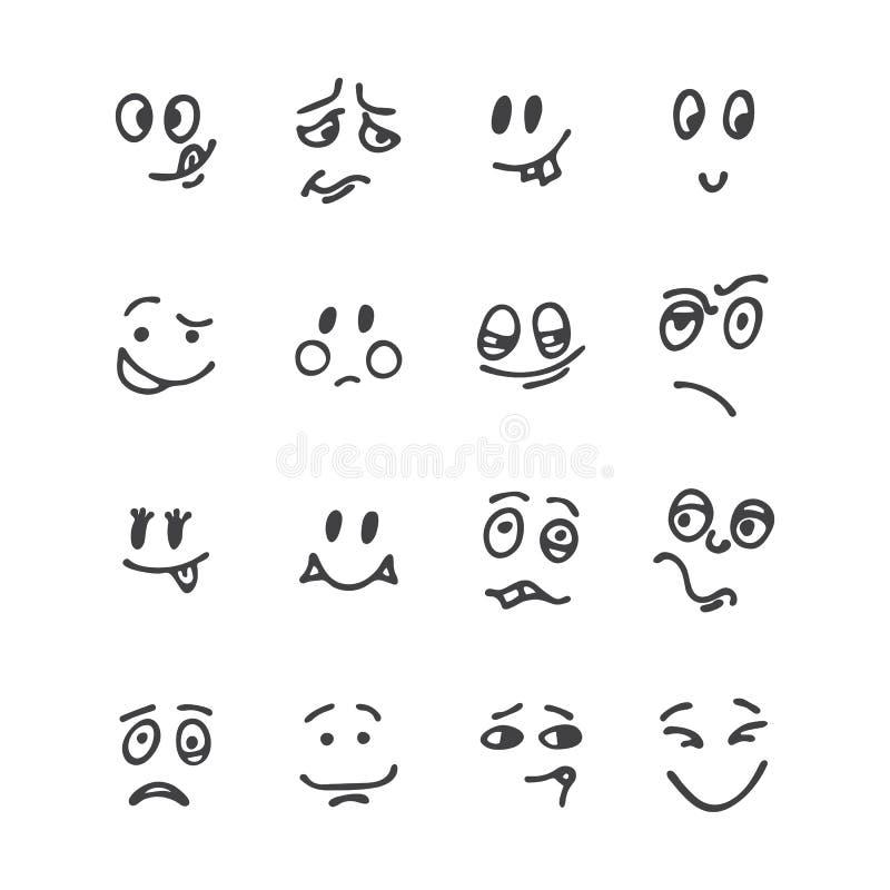Uppsättning av hand drog roliga framsidor Lyckligt vänder mot Skissad ansikts- expr stock illustrationer