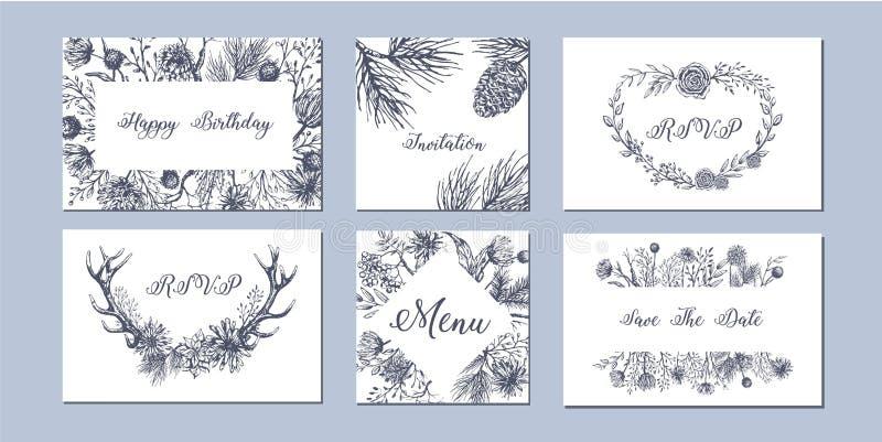 Uppsättning av hand drog säsongsbetonade bakgrunder för vinter stock illustrationer